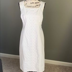 Boden sz 12 Long white cotton lined sheath dress